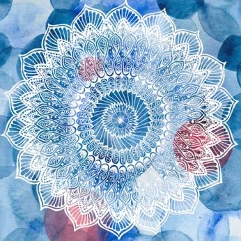 White Mandala4 on Blue Dots-for web